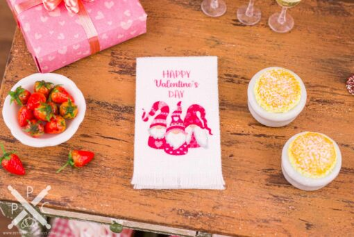 Dollhouse Miniature Happy Valentine's Day Gnomes Tea Towel - Valentine's Day Kitchen Towel - 1:12 Dollhouse Miniature Valentine's Day Towel