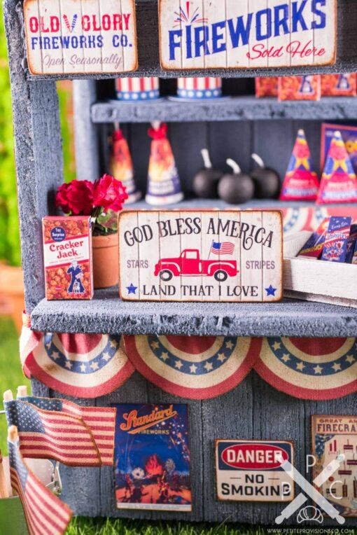 Dollhouse Miniature God Bless America 4th of July Sign - 1:12 Dollhouse Miniature Sign