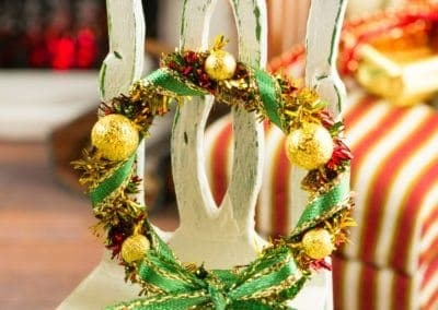 Gold, Green and Red Christmas Wreath