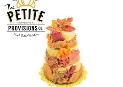 Metallic Gold Autumn Leaves Three Tiered Cake