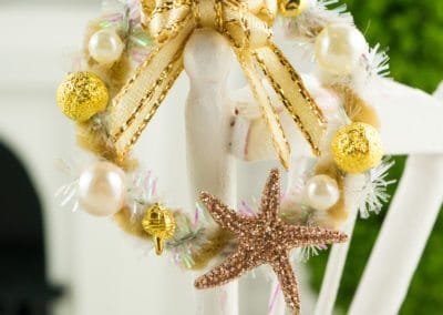 Sparkly Gold and Ivory Starfish Wreath