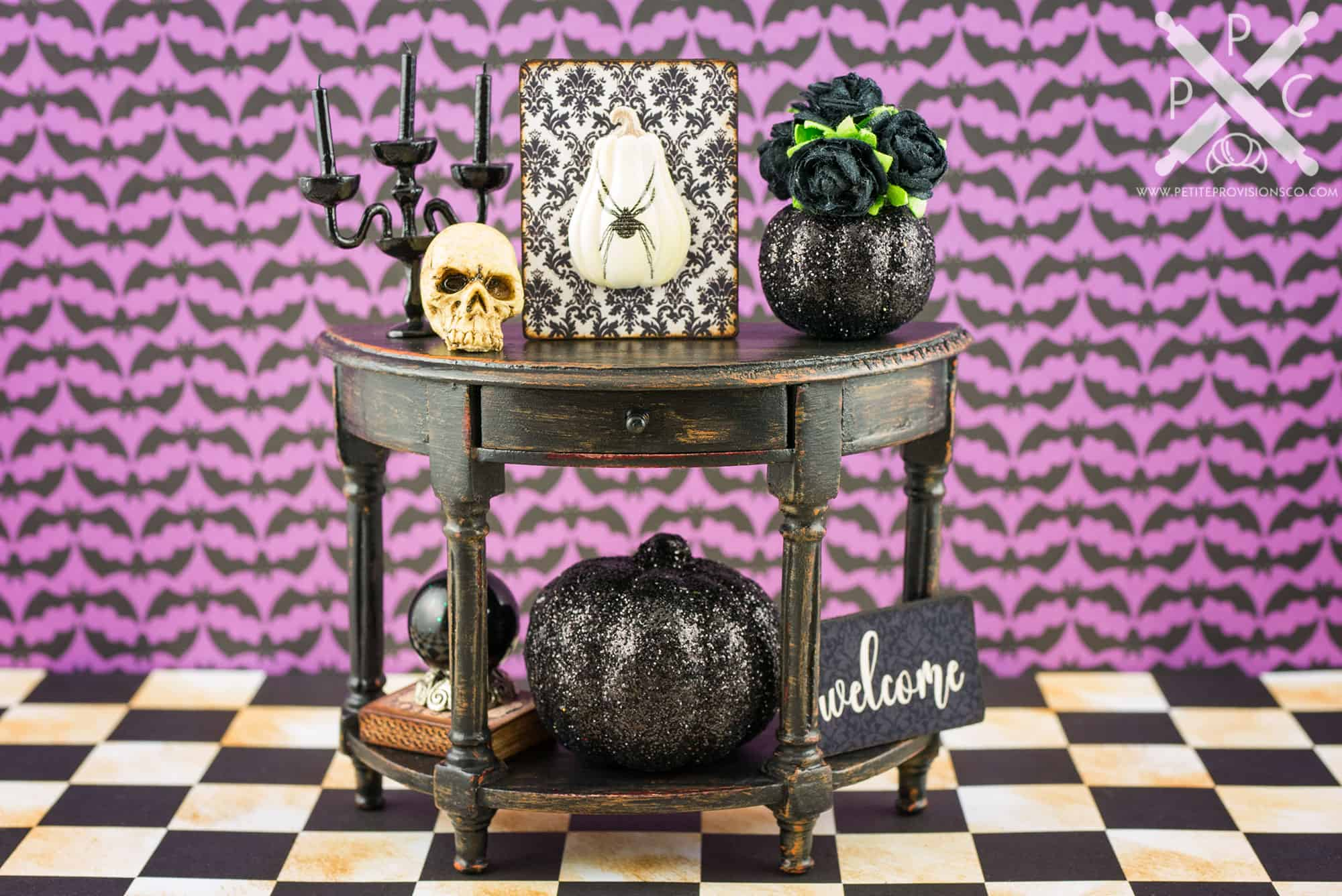 Dollhouse Miniature Gothic Glam Console Table Halloween