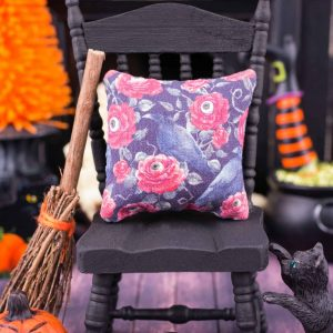 Gothic Roses and Ravens Halloween Pillow