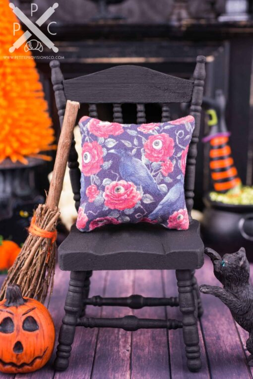 Dollhouse Miniature Gothic Roses and Ravens Halloween Pillow - 1:12 Dollhouse Miniature Halloween Throw Pillow