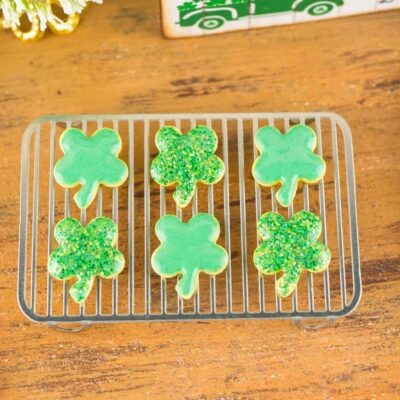 Dollhouse Miniature St. Patrick's Day Green Shamrock Cookies - Half Dozen
