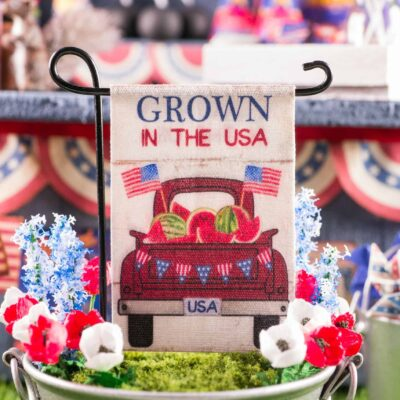 Dollhouse Miniature Grown in the USA 4th of July Garden Flag - 1:12 Dollhouse Miniature Garden Flag