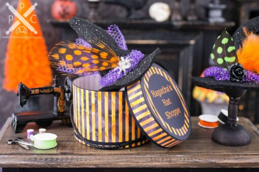 Dollhouse Miniature Hagatha's Hat Shoppe Witch Hat and Hat Box Set - 1:12 Dollhouse Miniature Halloween Decorations