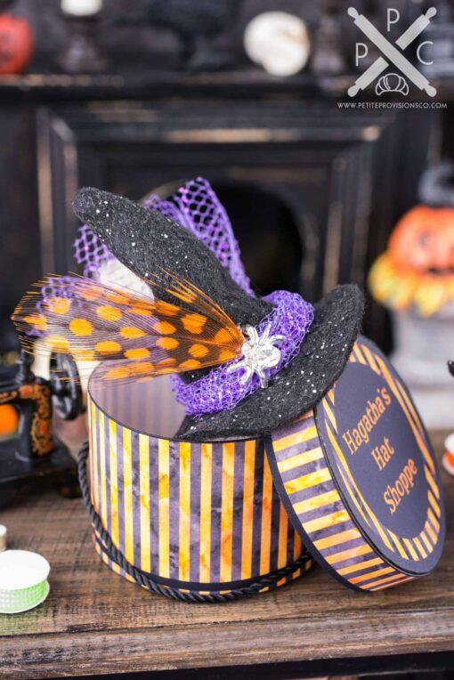 Dollhouse Miniature Hagatha's Hat Shoppe Witch Hat and Hat Box Set - 1:12 Dollhouse Miniature Halloween Decorations