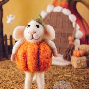 Peter the Pumpkin Patch Mouse – Needle Felted Mouse Dressed as Pumpkin