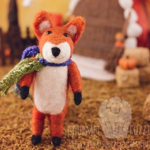 Franklin the Needle Felted Fox with Fall Scarf