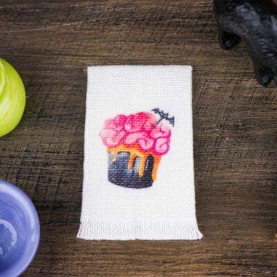 Dollhouse Miniature Halloween Batty Brain Cupcake Tea Towel - Halloween Kitchen Towel - 1:12 Dollhouse Miniature Halloween Towel