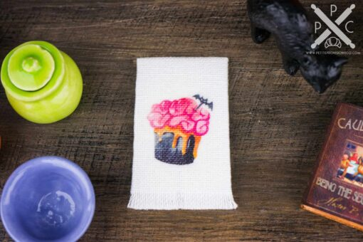 Dollhouse Miniature Halloween Batty Brain Cupcake Tea Towel - Halloween Kitchen Towel - 1:12 Dollhouse Miniature Halloween Towel