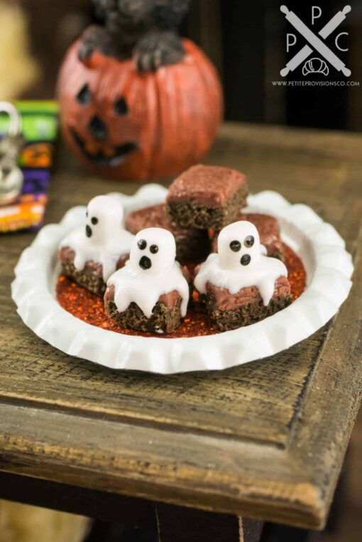 miniature halloween ghost brownies on tray 112 dollhouse miniature the petite provisions co