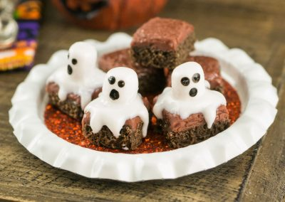 Halloween Ghost Brownies on Tray