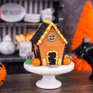 Halloween Gingerbread House on Cake Stand
