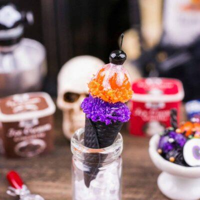 Dollhouse Miniature Halloween Ice Cream Cone Sundae - 1:12 Dollhouse Miniature Halloween Ice Cream