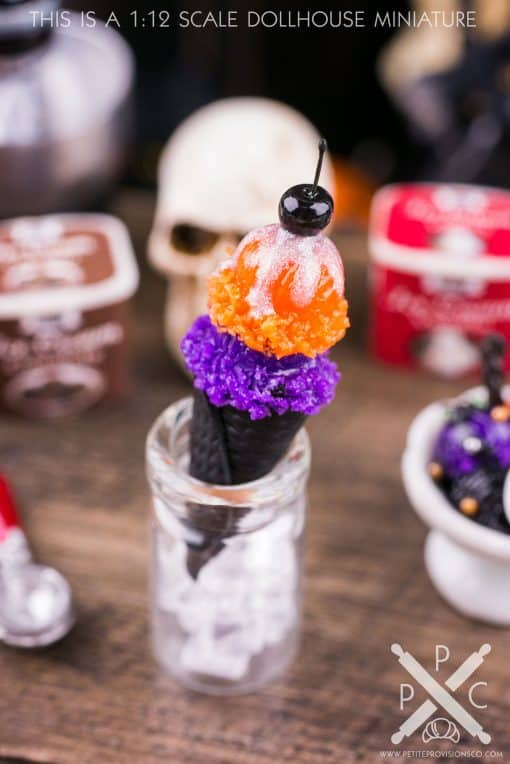Dollhouse Miniature Halloween Ice Cream Cone Sundae - 1:12 Dollhouse Miniature Halloween Ice Cream