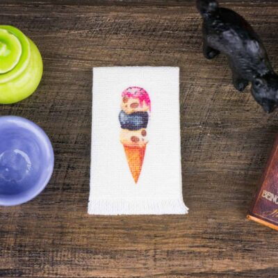 Dollhouse Miniature Halloween Ice Scream Tea Towel - Halloween Kitchen Towel - 1:12 Dollhouse Miniature Halloween Towel