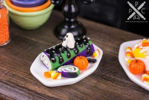 Dollhouse Miniature Halloween Swiss Roll Cake - 1:12 Dollhouse Miniature - Halloween Miniatures
