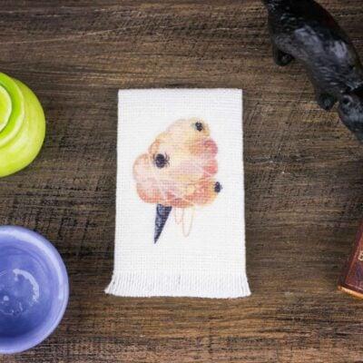 Dollhouse Miniature Halloween Spider Cotton Candy Tea Towel - Halloween Kitchen Towel - 1:12 Dollhouse Miniature Halloween Towel