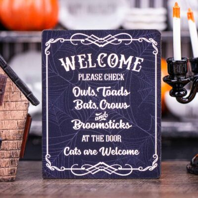 Dollhouse Miniature Halloween Welcome Sign - 1:12 Dollhouse Miniature Halloween Sign - Halloween Miniatures