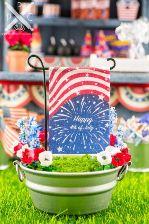 Dollhouse Miniature Happy 4th of July Fireworks Garden Flag - 1:12 Dollhouse Miniature Garden Flag