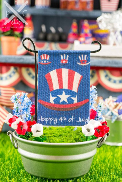 Dollhouse Miniature Happy 4th of July Top Hat Garden Flag - 1:12 Dollhouse Miniature Garden Flag
