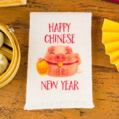 Dollhouse Miniature Year of the Pig Happy Chinese New Year Tea Towel