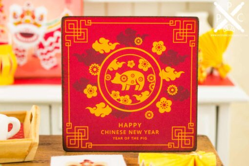 Dollhouse Miniature Happy Chinese New Year Sign