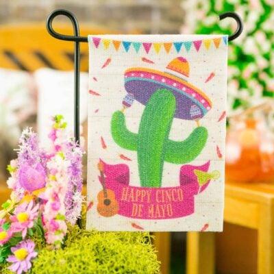 Dollhouse Miniature Happy Cinco de Mayo Garden Flag