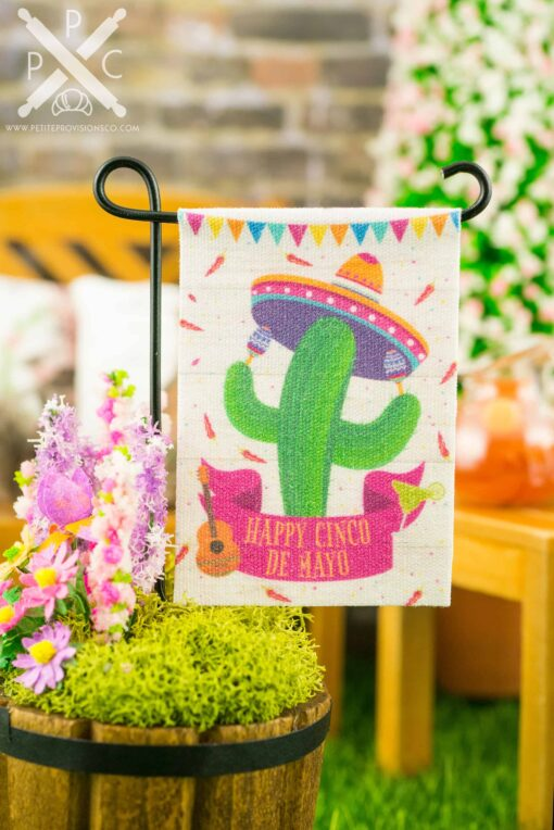Dollhouse Miniature Happy Cinco de Mayo Garden Flag