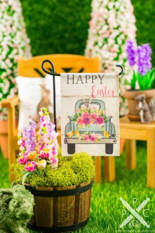 Dollhouse Miniature Happy Easter Flower Truck Easter Garden Flag