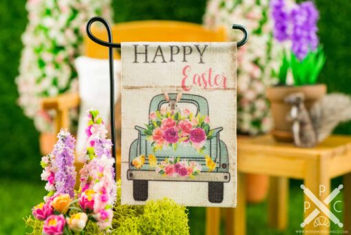 Dollhouse Miniature Happy Easter Flower Truck Easter Garden Flag