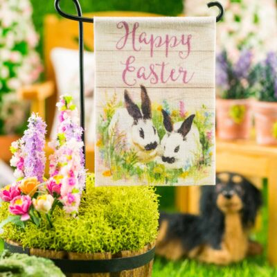 Dollhouse Miniature Happy Easter Rabbits Garden Flag