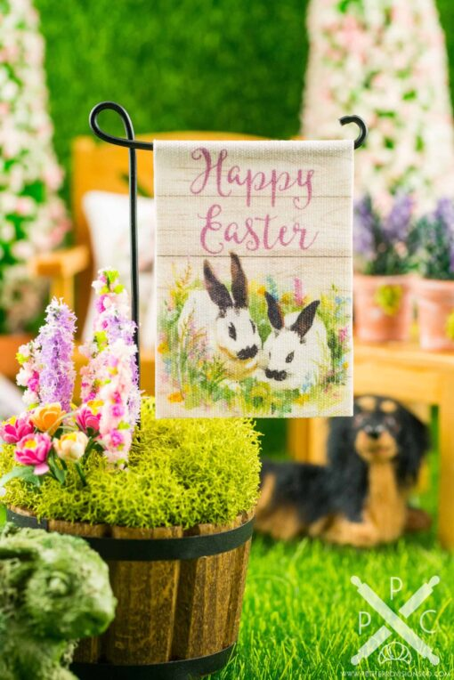 Dollhouse Miniature Happy Easter Rabbits Garden Flag