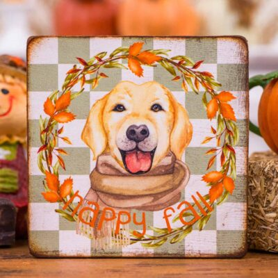 Dollhouse Miniature Happy Fall Labrador Sign - Decorative Autumn Sign - 1:12 Dollhouse Miniature - Fall Miniatures