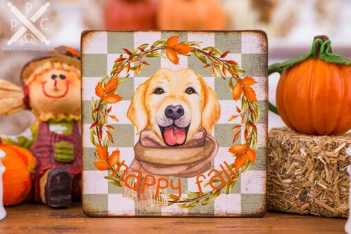 Dollhouse Miniature Happy Fall Labrador Sign - Decorative Autumn Sign - 1:12 Dollhouse Miniature - Fall Miniatures