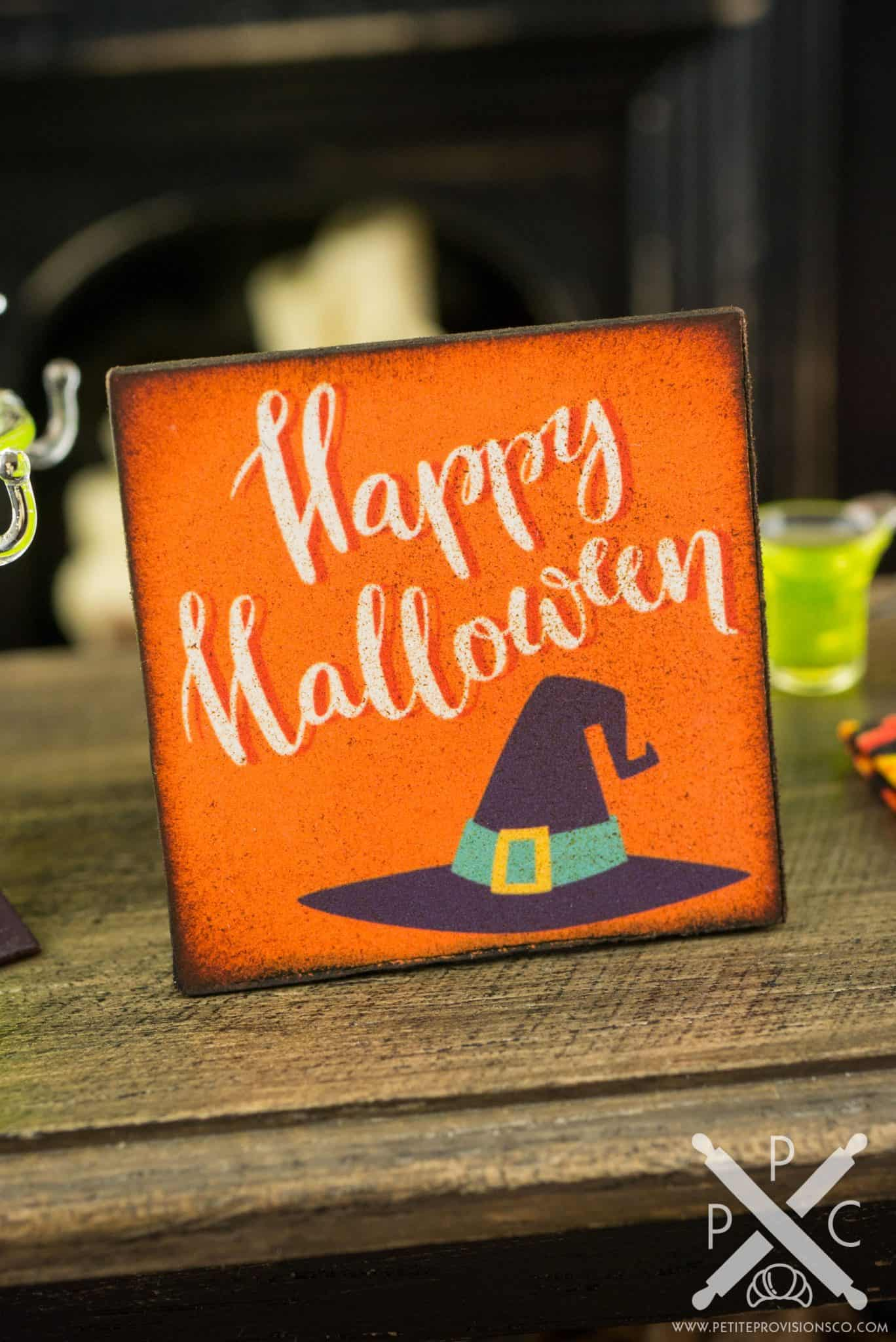 Happy Halloween Sign - Decorative Halloween Sign - 1:12 Dollhouse ...