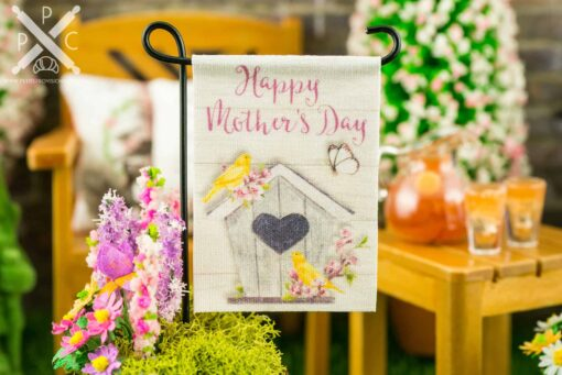 Dollhouse Miniature Happy Mother's Day Birdhouse Garden Flag