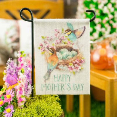 Dollhouse Miniature Happy Mother's Day Bird Nest Garden Flag