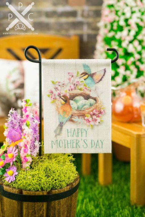 Dollhouse Miniature Happy Mother's Day Bird Nest Garden Flag
