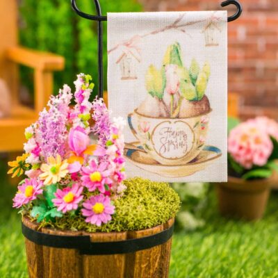Dollhouse Miniature Happy Spring Tulips in Teacup Spring Garden Flag - 1:12 Dollhouse Miniature Garden Flag