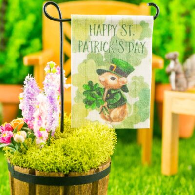 Dollhouse Miniature Happy St. Patrick's Day Garden Flag