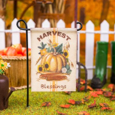 Dollhouse Miniature Harvest Blessings Garden Flag - 1:12 Dollhouse Miniature Garden Flag