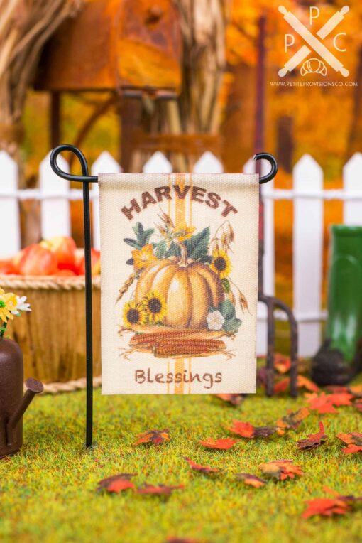 Dollhouse Miniature Harvest Blessings Garden Flag - 1:12 Dollhouse Miniature Garden Flag
