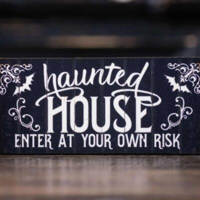 Dollhouse Miniature Haunted House Sign - Decorative Halloween Sign - 1:12 Dollhouse Miniature Halloween Sign