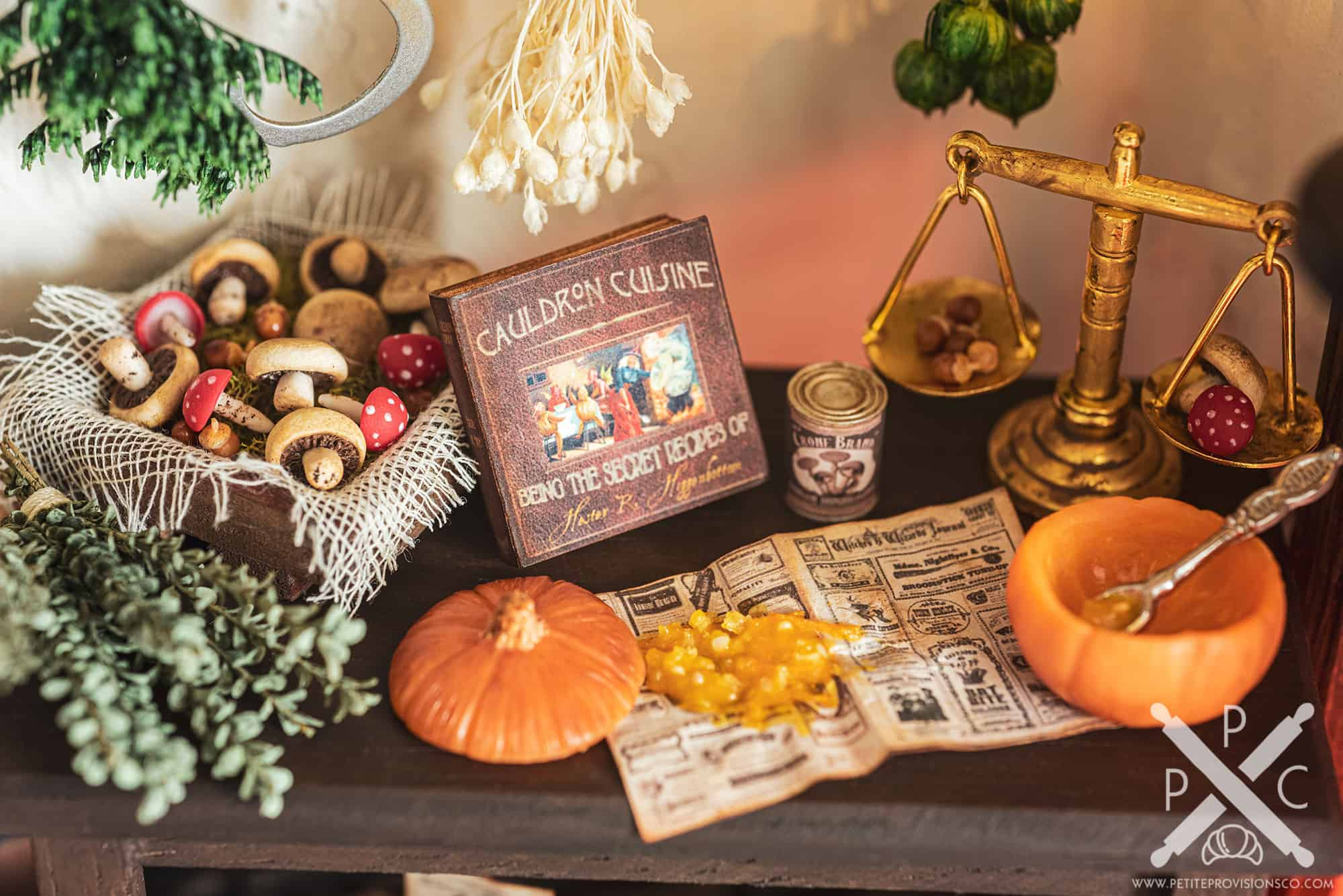 Poison Mushrooms, Herbs and a Pumpkin in Witch's Kitchen Themed Roombox - Halloween at the Hag's Hearth - HBSMiniatures Halloween Challenge 2020