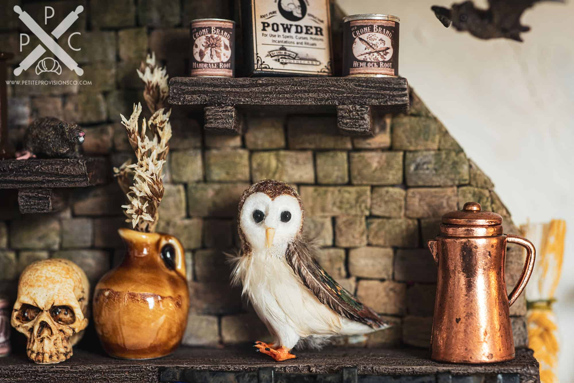 Handmade Miniature Barn Owl in Witch's Kitchen Themed Roombox - Halloween at the Hag's Hearth - HBSMiniatures Halloween Challenge 2020