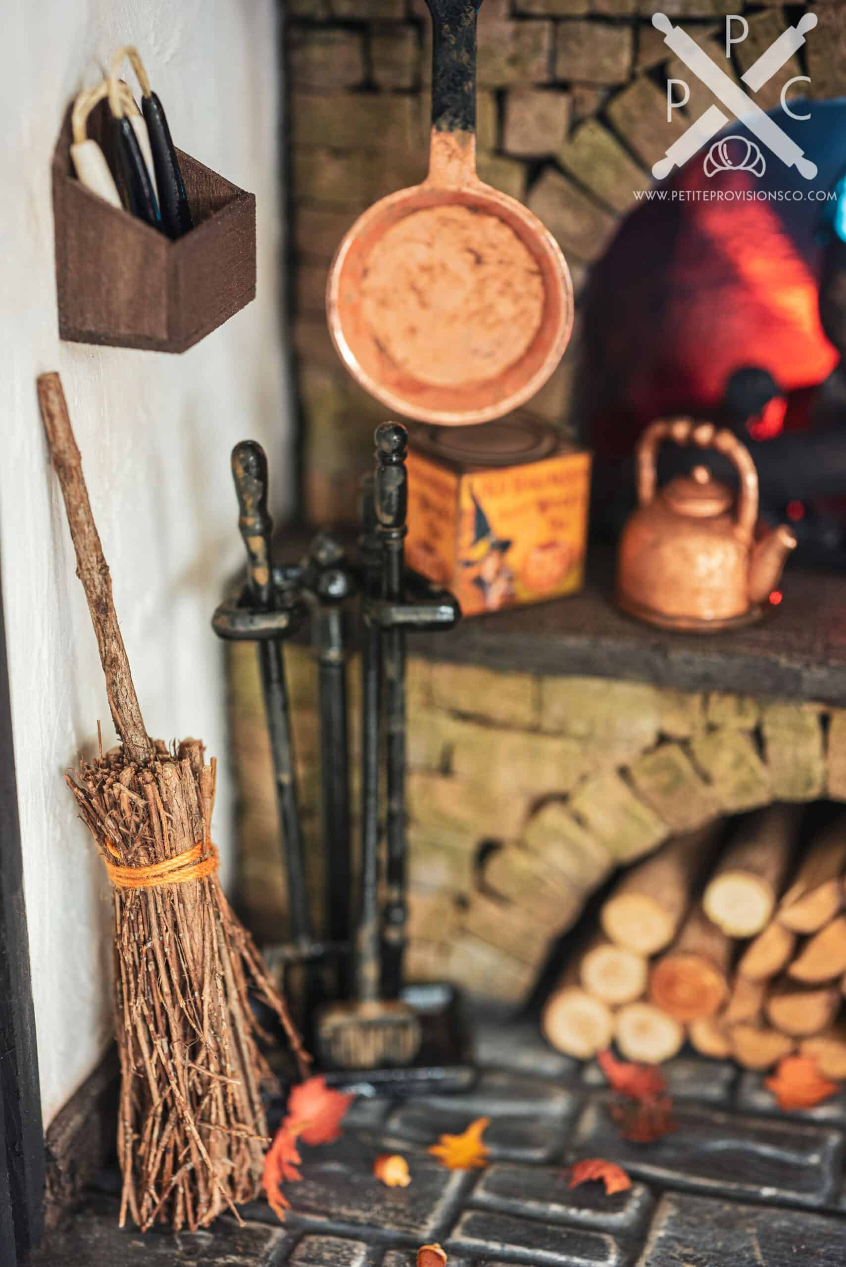 Broom, Autumn Leaves and Acorns in Witch's Kitchen Themed Roombox - Halloween at the Hag's Hearth - HBSMiniatures Halloween Challenge 2020