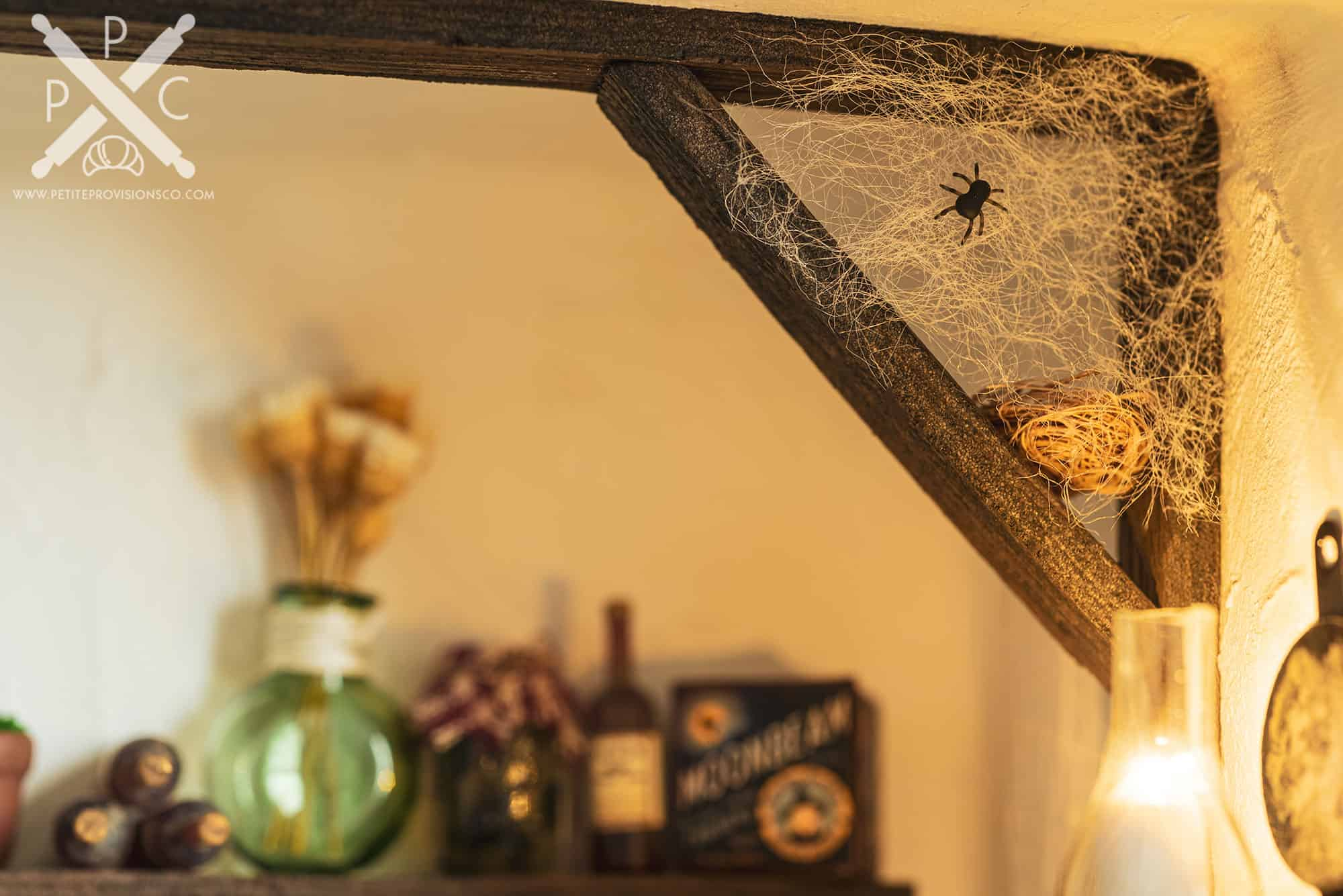 Spiderweb in Witch's Kitchen Themed Roombox - Halloween at the Hag's Hearth - HBSMiniatures Halloween Challenge 2020